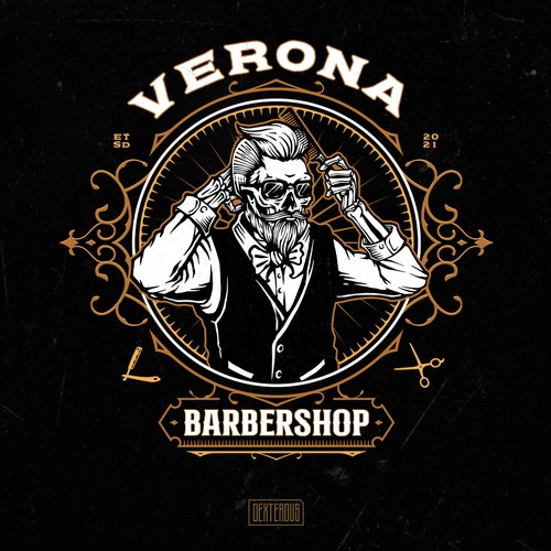 Design with the title 'Verona Barbershop Logo'