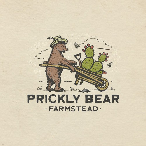 Heritage design with the title 'Prickly Bear Farmstead'