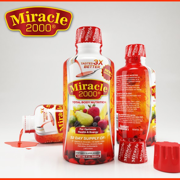 Fruit label with the title 'Miracle 2000'