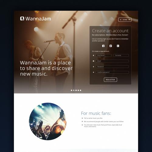 Modern website with the title 'WannaJam'
