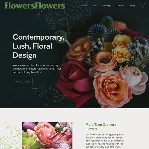 Wedding planning design with the title 'Flowers Flowers'
