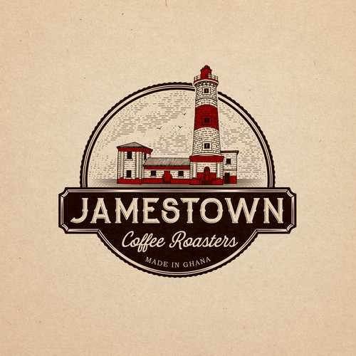 Heritage logo with the title 'Emblem logo design for coffee roasters from Jamestown, Ghana. '