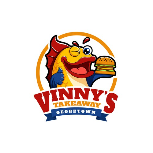 Takeaway logo with the title 'Cartoon logo for a fish and chip restaurant'