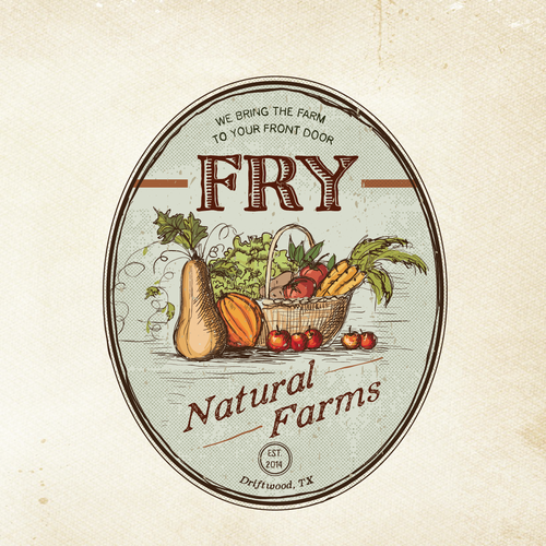 Vegetable logo with the title 'Create a Vintage Farm Logo'