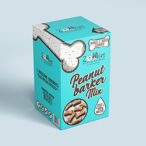 Dog treat packaging with the title 'Playful packaging concept for dog food'