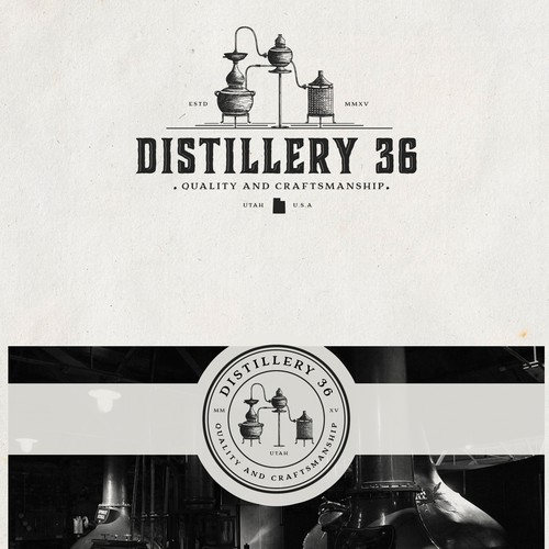 Hand-drawn logo with the title 'Craft distillery Logo Design'