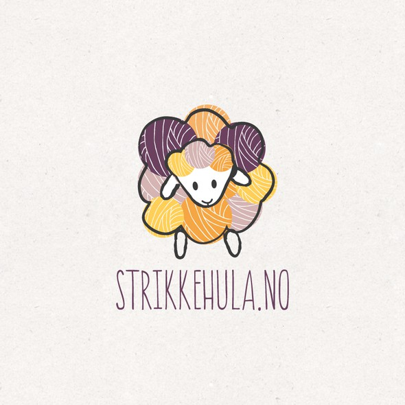 Sheep logo with the title 'Knitting webshop logo'