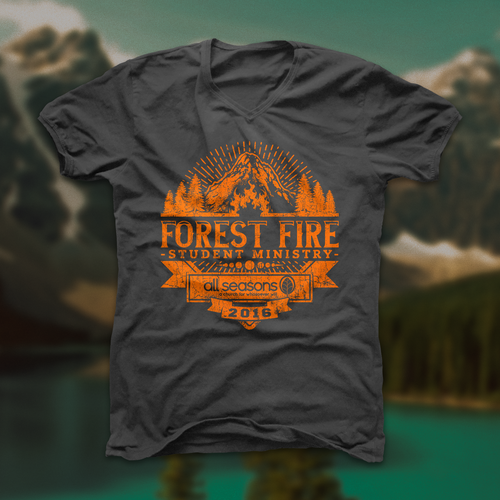 Forest t-shirt with the title 'Outdoor Forest Fire Student Ministry T-shirt I'