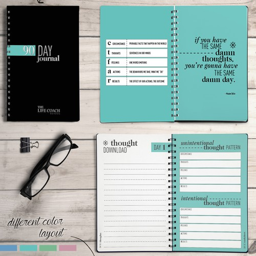 Notebook design with the title 'Motivational journal'