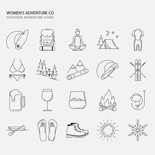 Boat design with the title 'Feminine icons for women's outdoor adventures.'