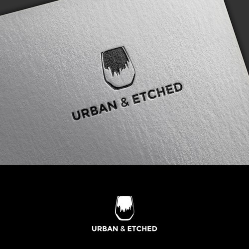 Wine glass design with the title 'Urban & Etched'