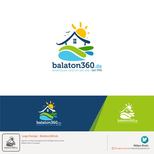 Cottage design with the title 'Logo for a rental holiday homes at the Balaton lake in Hungary.'
