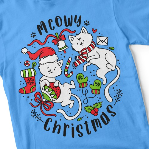 Fun t-shirt with the title '❆Meowy Christmas ❆'