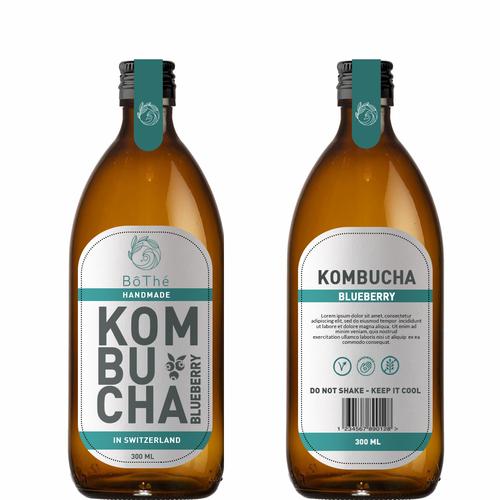 Kombucha label with the title 'kombucha'