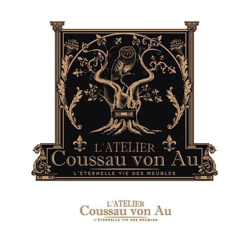 Owl design with the title 'Atelier Cousseau von Au'