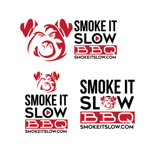 Cow, pig, and chicken logo with the title 'Smoke It Slow BBQ logo'