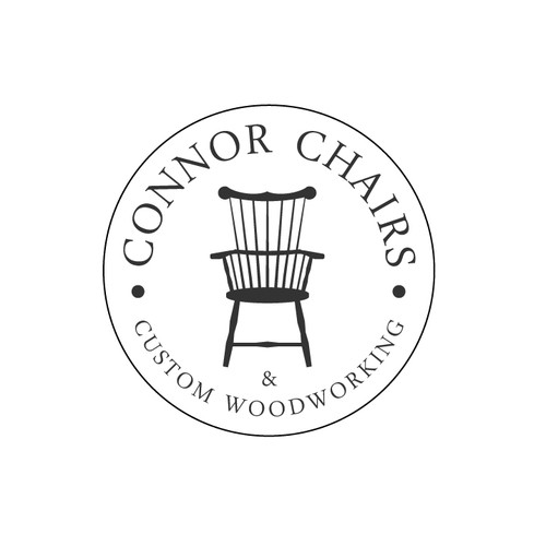 Chair logo with the title 'woodworking logo'