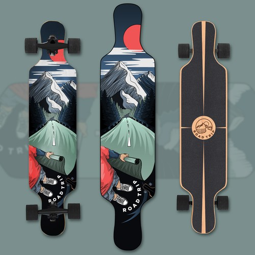 Adventure illustration with the title 'Longboard design'