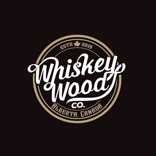 Woodworking logo with the title 'Whiskey Wood'