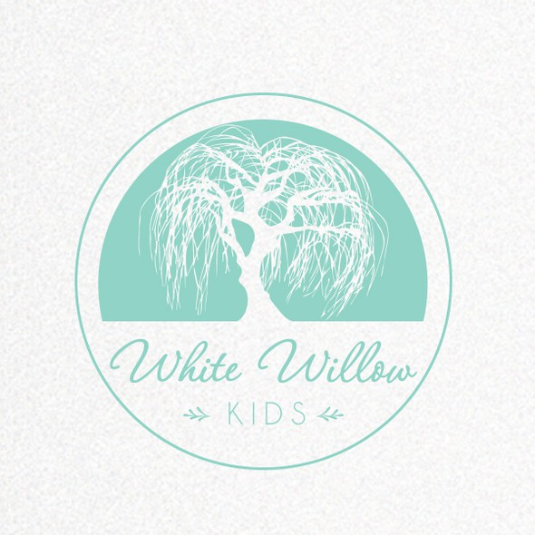 Circle stamp logo with the title 'Create an inspiring and fun identity for White Willow Kids - making kids spaces sparkle!'