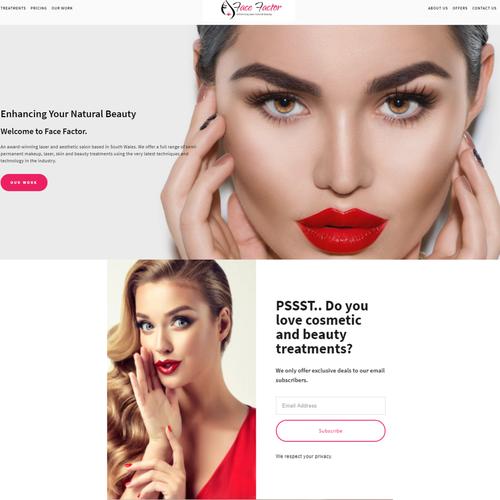 Beauty salon design with the title 'Website - Aesthetic Salon'