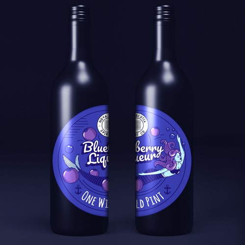 Cartoon label with the title 'Concept for liqueur label'