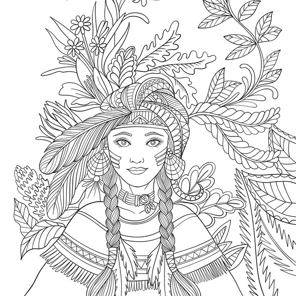 American Indian design with the title '60 illustrations for Native American coloring book'