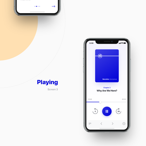 Player design with the title 'Audio book player'