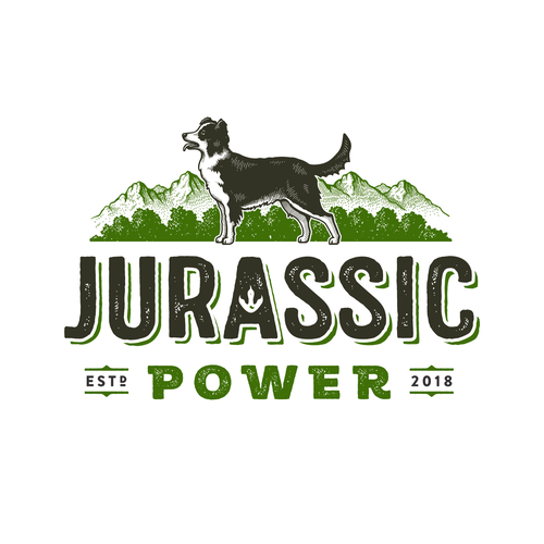 Dog label with the title 'Jurassic Power'