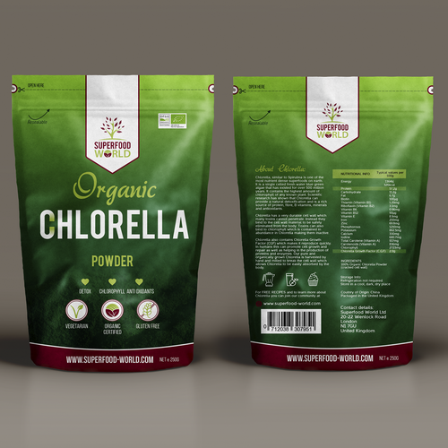 Superfood packaging with the title 'Superfood Chlorella'