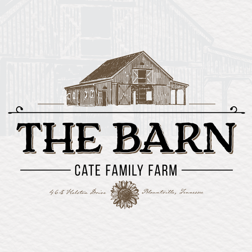 Barn design with the title 'the barn at cate family farm'