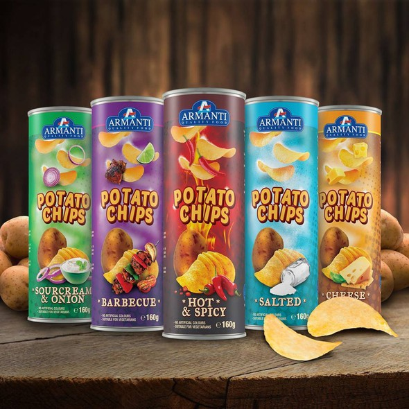 Potato chip packaging with the title 'Packaging design for Armanti'