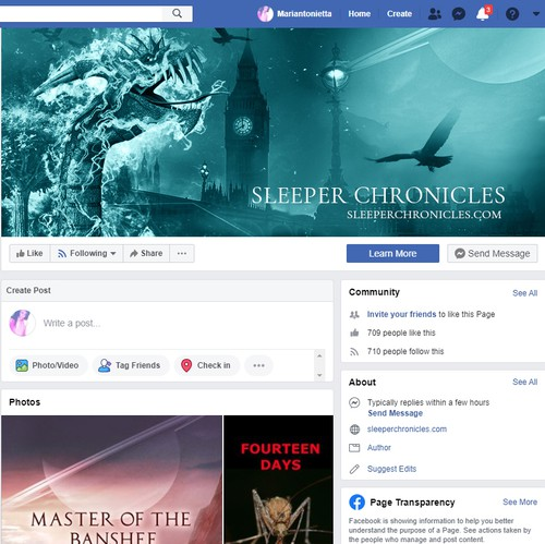 Promotional design with the title 'facebook cover for Sleeper chronicles'