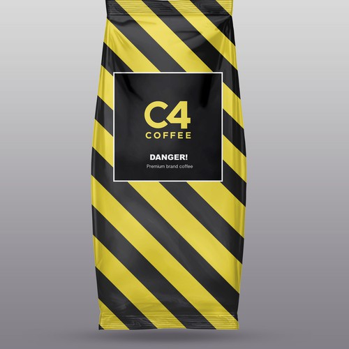Danger design with the title 'Premium brand coffee'