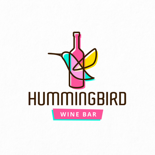 Bartender logo with the title 'Hummingbird Wine Bar'