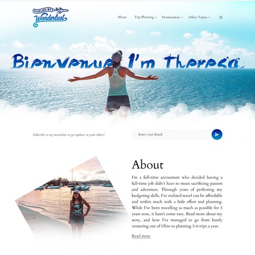 Beach website with the title 'Travel Blog website'