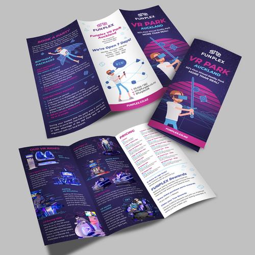 Purple design with the title 'FUNPLEX VR PARK'