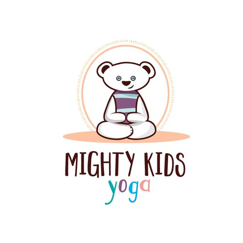 Workout logo with the title 'Kids Yoga Class Logo'