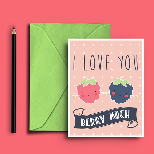 Raspberry design with the title 'Greeting Card I Love You'