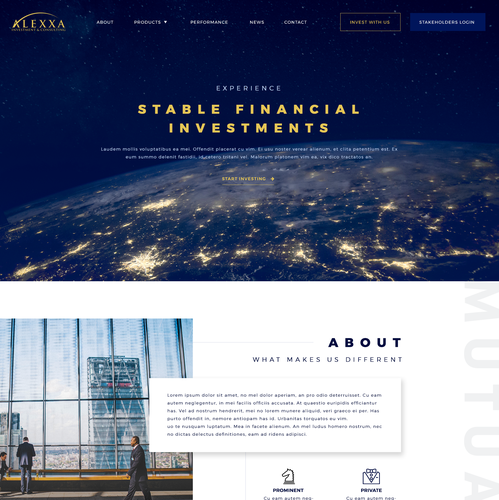Worldwide design with the title 'Web design for an international financial firm'