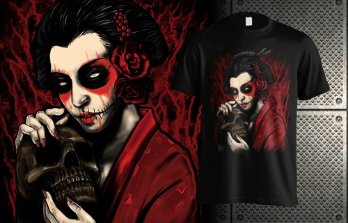 Japanese t-shirt with the title 'Geisha artwork'