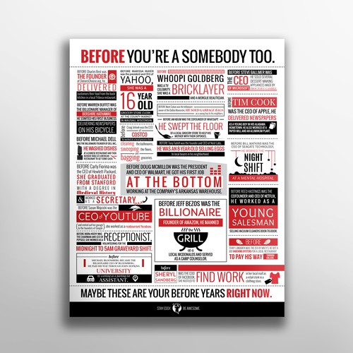 Red and black design with the title 'Bold typographic poster'
