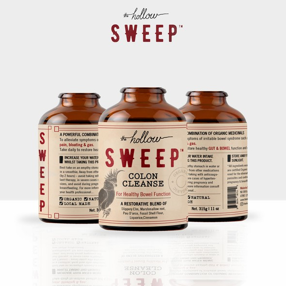 Medical label with the title 'Hollow SWEEP colon cleanse'