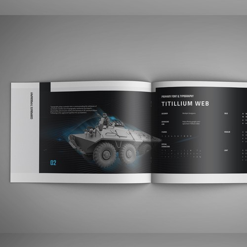 Security design with the title 'Brand Guide for Tech Manufacturer'