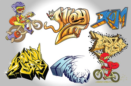 Graffiti illustration with the title 'Cycling Themed Graffiti Art'