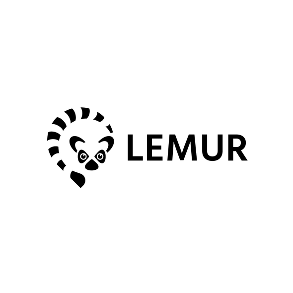 Lemur design with the title 'Lemur-themed Business Mapping Software Logo'