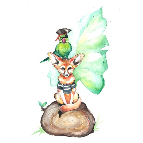 Cute t-shirt with the title 'watercolor illustration for T-shirt'