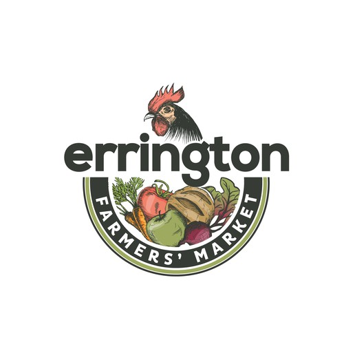 Apple design with the title 'Hand drawn logo for The Errington Farmers' Market'