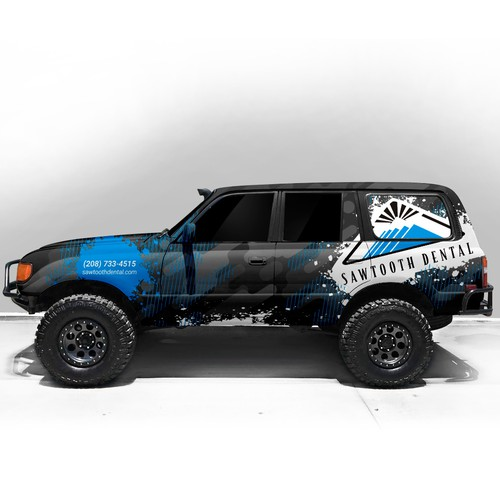 Wrap design with the title 'Design a car wrap for the dental office '