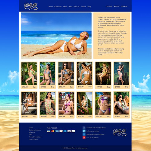 Online shop design with the title 'website design for Gold FIsh'